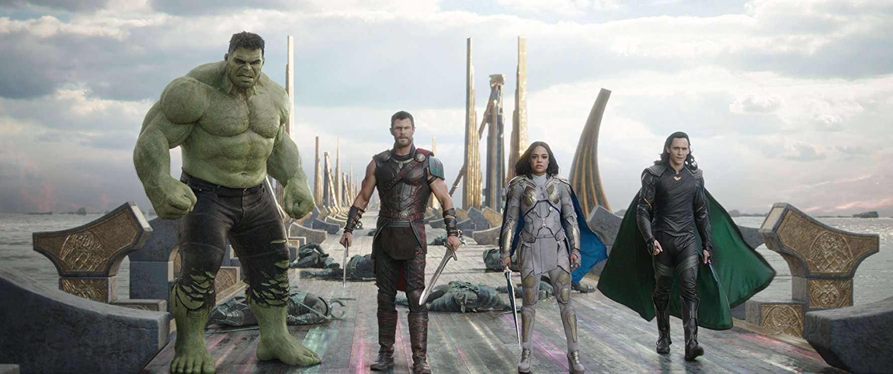 Hulk, Thor, Valkyrie and Loki in Thor Ragnarok