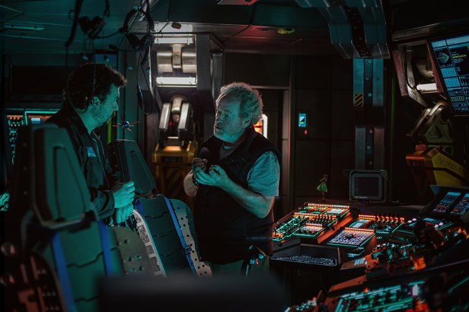 Ridley Scott on the set of Alien: Covenant