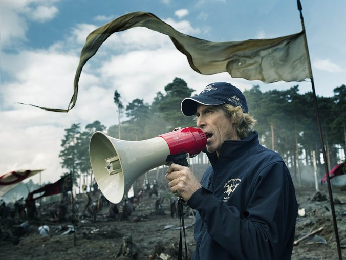 Michael Bay on the set of Transformers the Last Knight