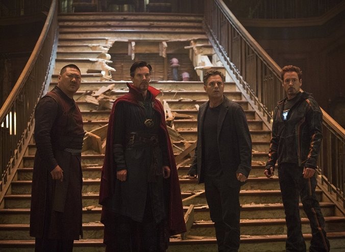 Benedict Cumberbatch, Mark Ruffalo and Robert Downey Jr in Avengers Infinity War