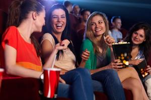 Group of women talking in the cinema